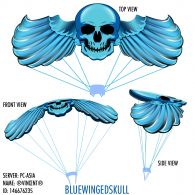 BLUE WINGED SKULL