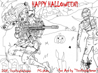 "Halloween Fan Art ""Zombie's Gives me Chills"" he he hope you like it"
